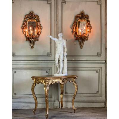 Paire De Miroirs En Bois Sculpté, Trois Bras De Lumière De Style Louis XVI