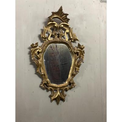 Miroir En Bois Doré, Italie Début XXème Siècle