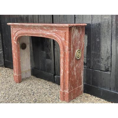 Louis XIV Style Red Marble Fireplace