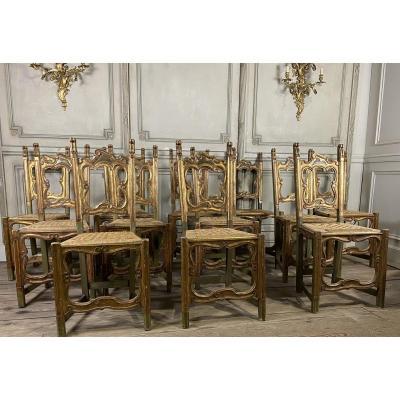Suite De 12 Chaises En Bois Sculpté, Italie