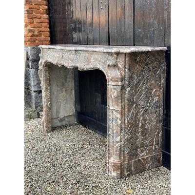 Louis XV Style Fireplace In Gray Ardennes Marble