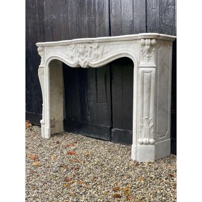 Cheminée De Style Louis XV En Marbre Blanc De Carrare
