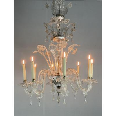 Lustre Vénitien En Verre De Murano Transparent, 8 Bras De Lumière