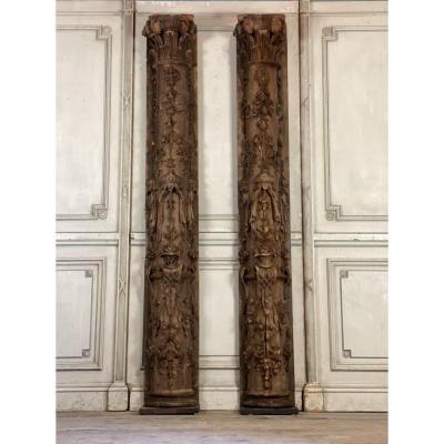Paire De demi Colonnes En Pin Sculpté, Fin XVIIème Siècle