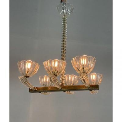 Lustre Vénitien Par Seguso Six Bras De Lumière Vers 1940