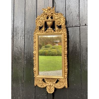 Miroir En Bois Sculpté Doré XIXème Siècle