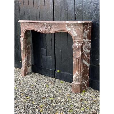 Louis XV Fireplace In Red Marble From Belgium, XVIIIth Century