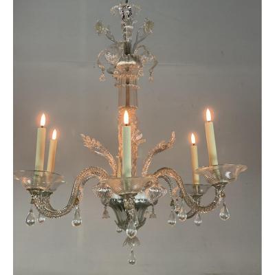 Lustre Vénitien En Verre De Murano Transparent, 6 Bras De Lumière