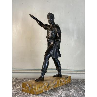 Bonze Patine Noire, Homme Barbu Debout, Dans L'esprit De L'antique, XIXème Siècle