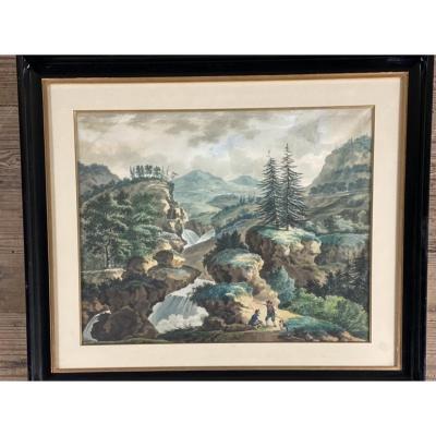 Paysage De Montagne, Aquarelle Signée Et Datée A. Calame 57