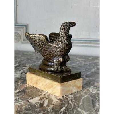 Aigle Et Serpent, Encrier En Bronze Sur Socle De Marbre