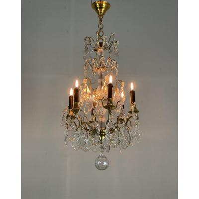 Gilt Bronze Chandelier Garnished With Cut Crystal Pendants, 6 Arms Of Light