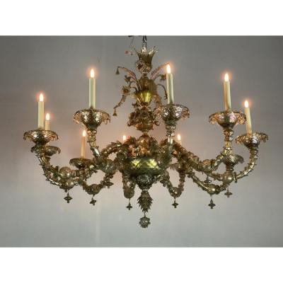 Venetian Rezzonico Chandelier In Mordoré Murano Glass With Green Reflections, 10 Arms Of Light