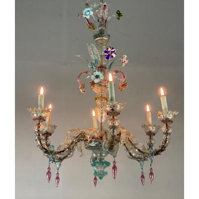 Rezzonico Chandelier In Colorful Murano Glass, 6 Arms Of Light