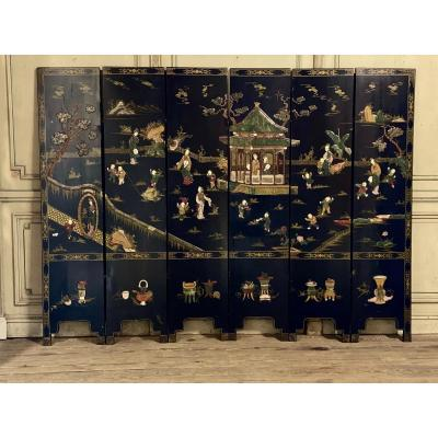 Screen In Lacquer, Hard Stones And Ivory, China Late Nineteenth Century