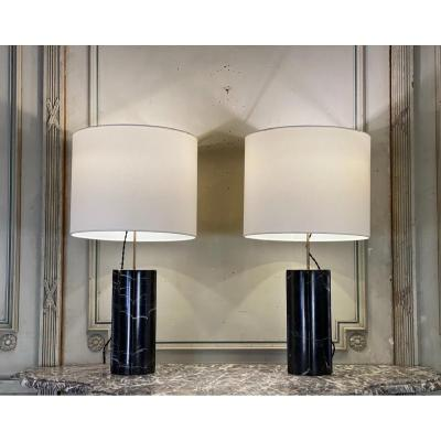 Pair Of Marquina Marble Table Lamps Around 1980