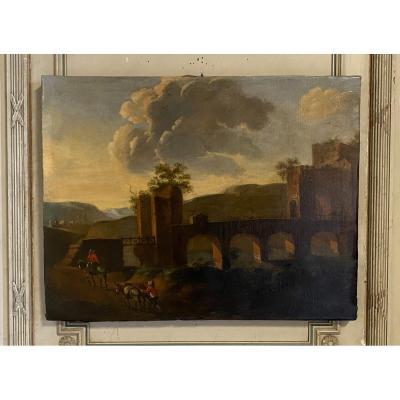 Paysage Italien, Huile Sur Toile, Fin XVIIIème Siècle