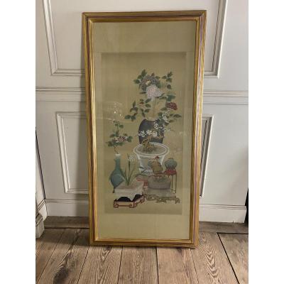 Peinture  Sur Soie, Chine XXéme Siècle