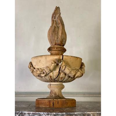 Pot à Feu En Bois Sculpté, Fin XVIIIème Siècle