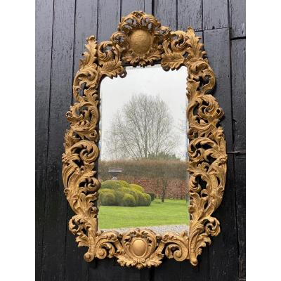 Frame In Carved And Gilded Wood Early Eighteenth Century On A Mirror Around 1900