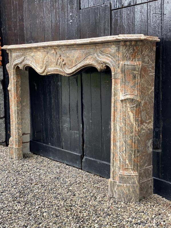 Louis XV Fireplace In Gray Ardennes Marble-photo-2