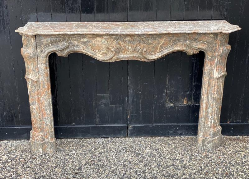Louis XV Fireplace In Gray Ardennes Marble-photo-3
