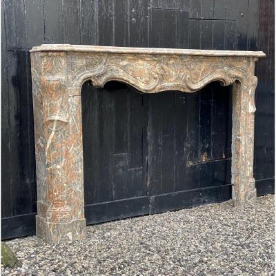 Louis XV Fireplace In Gray Ardennes Marble