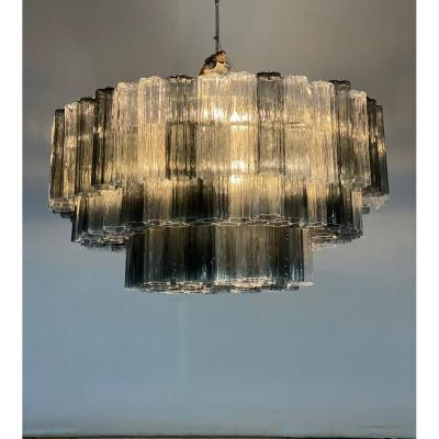 Venetian Chandelier In Gray / Blue And Transparent Murano Glass