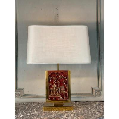 Brass Table Lamp, Lacquered And Gilded Wood Plate China Circa 1980