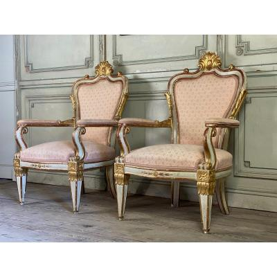 Pair Of Gilded And Patinated Carved Wood Armchairs, Italy