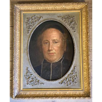 Portrait Of A Clergyman, Oil On Canvas Mounted On Panel XIXth Century