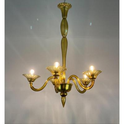 Venetian Murano Glass Chandelier In Amber Yellow Color, 5 Arms Of Light