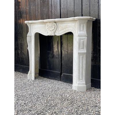 Louis XV Style Fireplace In Carrara Marble