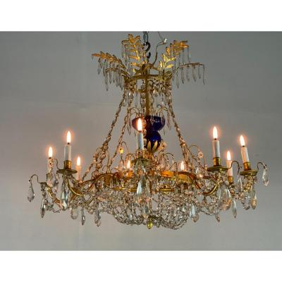 Gilt Bronze Chandelier, Crystal Pendants, Blue Glass Cup, Nineteenth Century Sweden