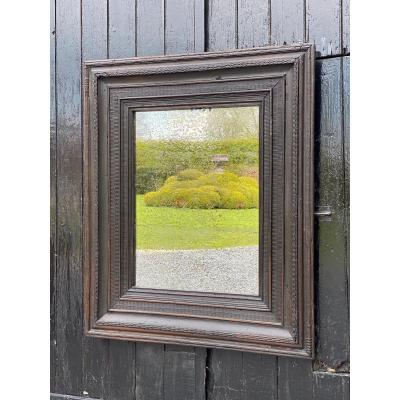 Blackened Oak Frame, XVIIth Century, Old Mirror