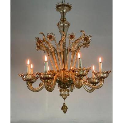 Venetian Murano Glass Chandelier In Bronze Color, 8 Arms Of Light