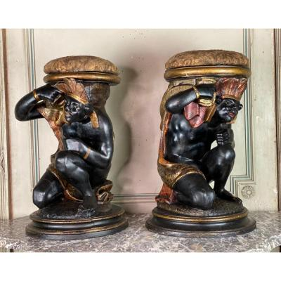 Pair Of Stools Or Plinths, Venitian Blackamoor, Carved, Lacquered And Gilded Wood Around 1800