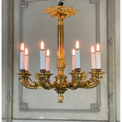 Gilt Bronze Chandelier 8 Arms Of Light, France First Half Of The XIXth Century