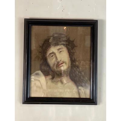 Tête Du Christ, Fragment De Tapisserie Sur Chassis Et Encadré, Flandres XVIIIéme Siècle