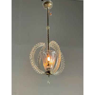 Lustre Ou Lanterne Vénitienne En Verre De Murano Incolore Vers 1940