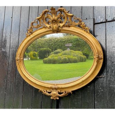 Miroir Napoléon III En Bois Stuqué Doré Vers 1880
