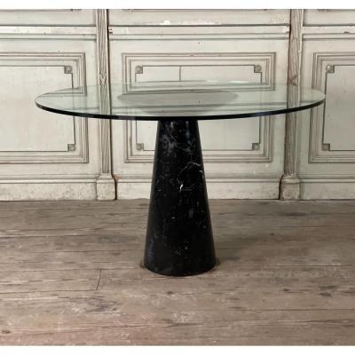Table En Marbre Et Verre Par Angelo Mangiarotti