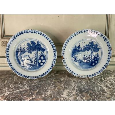 Pair Of Delft Earthenware Dishes, Eighteenth Century