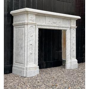 Cheminée De Style Louis XVI En Marbre Blanc De Carrare
