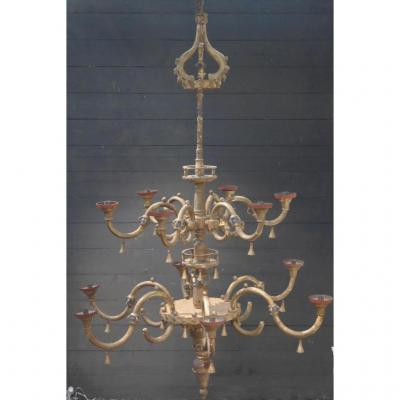 Chandelier Twelve Lights In Gilded And Painted Wood