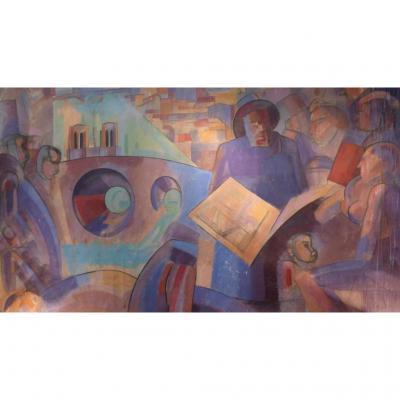 Huile Sur Toile De Style Cubiste Datée 1958