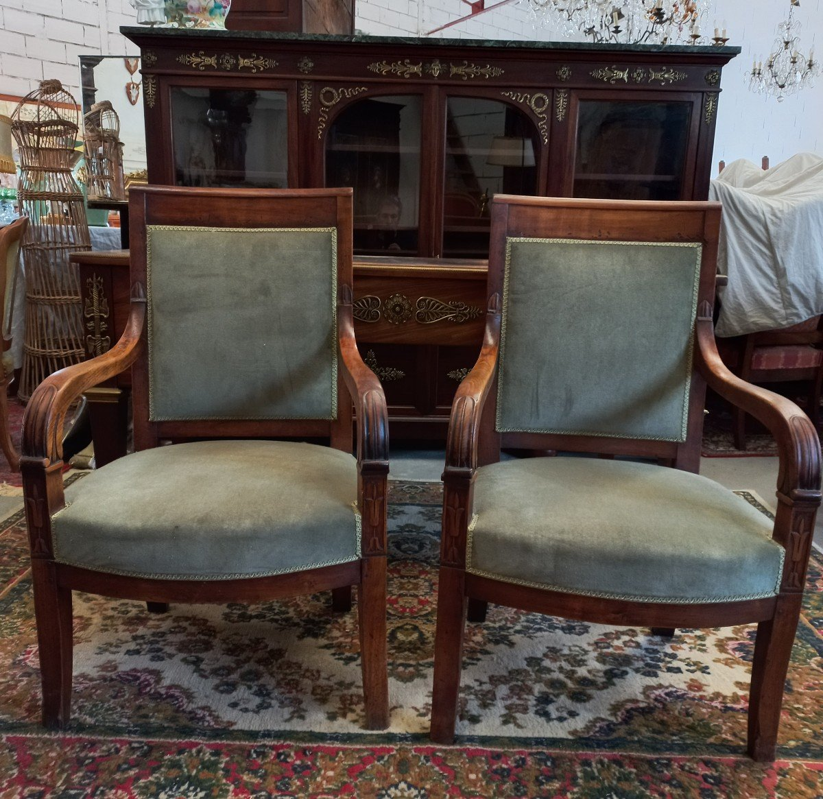 Set Office Library Armchairs Stamped Empire Millet XIX-photo-7