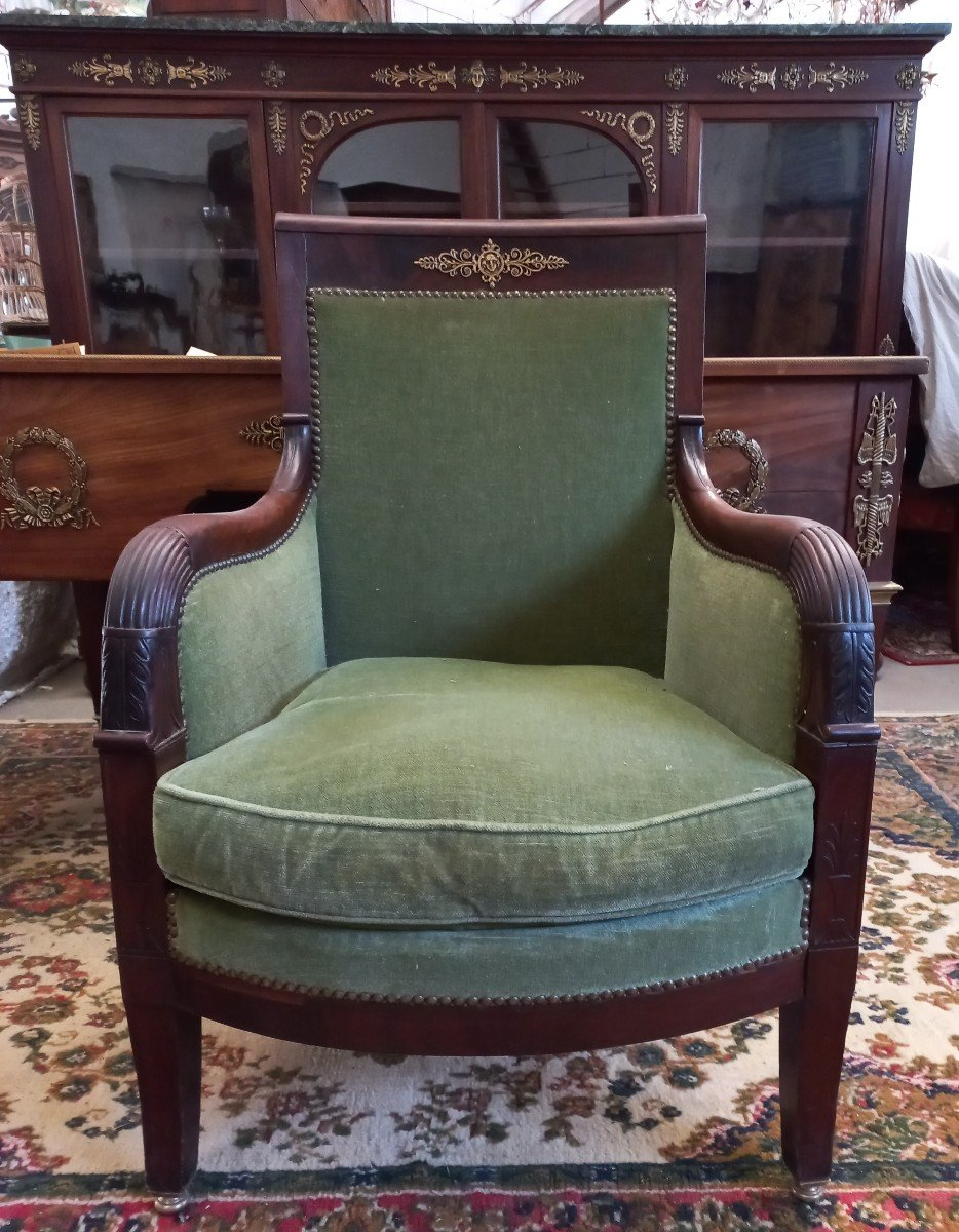 Set Office Library Armchairs Stamped Empire Millet XIX-photo-4