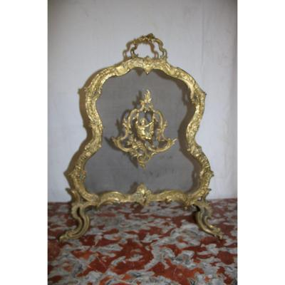Antique Louis XV Style Firescreen In Gilt Bronze