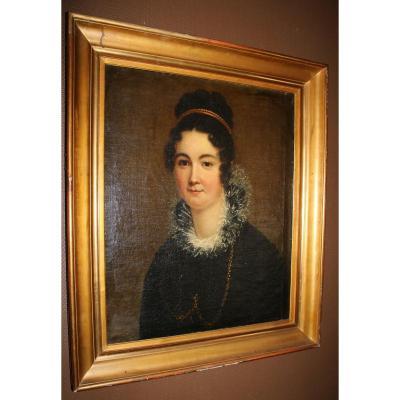 Portrait De Femme à La Collerette De Dentelle